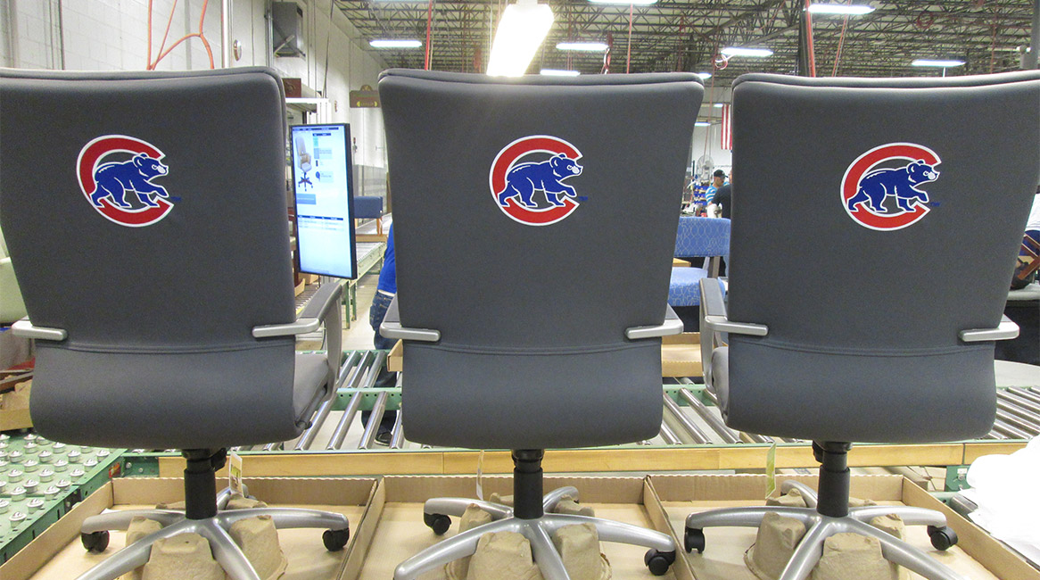Respect seating shown with custom embroidery.