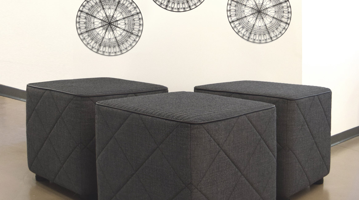 Whimsy impromptu seating featuring Stitch-it. Top panels – Horizontal Single Stitch pattern, .75 inch size; Side panels – Diamond Grid Single Stitch pattern, 6 inch size.